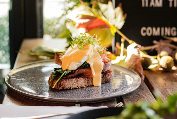Eggs Benedict for weekend brunch at Ludlow Bar & Dining Room by the river, Southbank